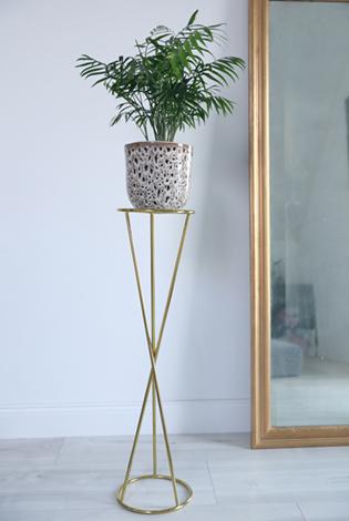 złoty stojak, podstawka pod rośliny, metalowy kwietnik