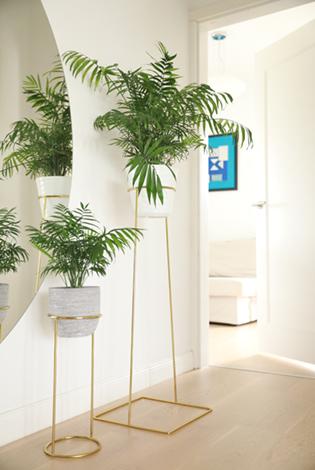 metalowy kwietnik, stojak złoty, złoty kwietnik, minimalistyczny kwietnik, złota podstawka pod rośliny, kwietnik z prętów, kwietnik jak prl