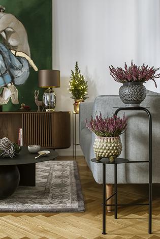 kwietnik na dwie rośliny, kwietnik do salonu, stojak na dwie rośliny, duży stojak, kwietnik z półkami, metalowy kwietnik