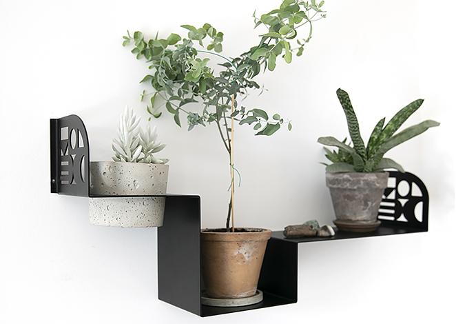 półka mocowana do ściany, półka z metalu, czarna półka